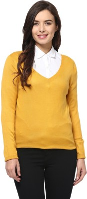 Yepme Solid V-neck Casual Women's Yellow Sweater