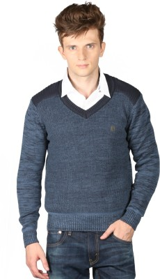 Again Solid V-neck Casual Men's Blue Sweater