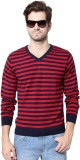 People Striped V-neck Casual Men Red Swe...