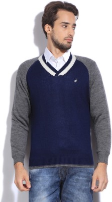 John Players Solid V-neck Casual Men's Grey, Blue Sweater