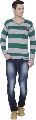 Alay Striped V-neck Casual Men's Black Sweater