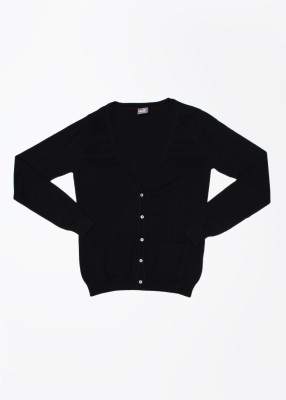 Puma Solid V-neck Casual Women's Black Sweater
