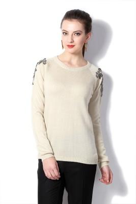 Van Heusen Self Design Round Neck Women's Beige Sweater