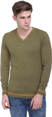 CLUB YORK Solid V-neck Casual Men's Light Green Sweater