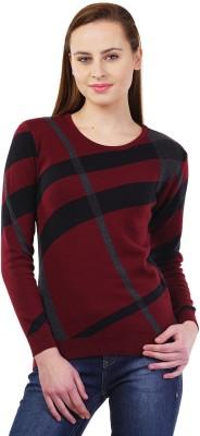 Kalt Self Design Round Neck Casual Women's Maroon Sweater
