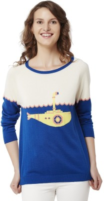 Chumbak Printed Round Neck Casual Women's Blue Sweater