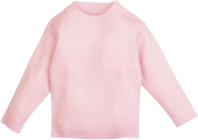 Mom & Me Solid Round Neck Girl's Pink Sweater
