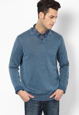 Jack & Jones Solid Round Neck Men's Blue Sweater