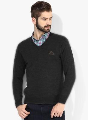 Bansal Knitwears Solid V-neck Men's Black Sweater