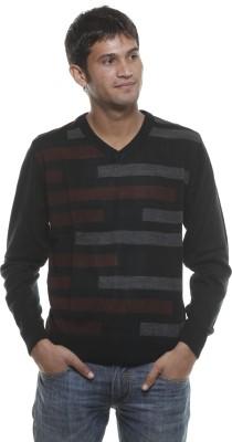 Fashion My Day Striped V-neck Casual Men's Black Sweater