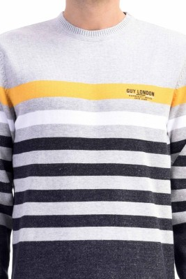 CLUB AVIS USA Striped Round Neck Casual Men's Grey Sweater