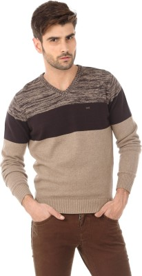 Basics Solid V-neck Casual Men's Brown Sweater