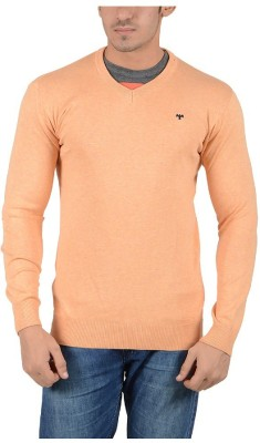 Reveller Solid V-neck Casual Men's Orange Sweater