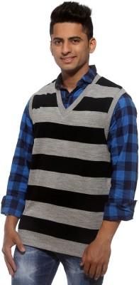 Sports 52 Wear Striped V-neck Casual Men's Reversible Grey, Blue Sweater
