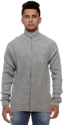 Sports 52 Wear Solid V-neck Casual Men's Grey Sweater