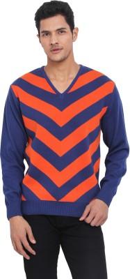 Northern Lights Striped V-neck Casual Men's Orange, Blue Sweater