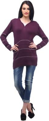 Stylistry Solid V-neck Women's Maroon Sweater