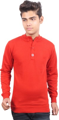 Buff Solid Round Neck Casual Men's Red Sweater