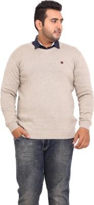 John Pride Solid V-neck Casual Men's Beige Sweater