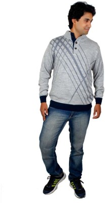 Alpine Enterprises Solid Round Neck Men's Grey Sweater
