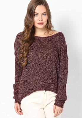 Vero Moda Solid Round Neck Casual Women Maroon Sweater at flipkart