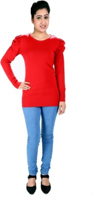SLS Solid Round Neck Casual Women's Red Sweater