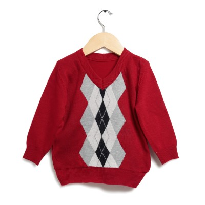 Zonko Style Geometric Print Round Neck Casual Boy's Red Sweater