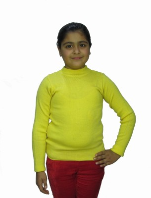 titli Solid Turtle Neck Girl's Yellow Sweater