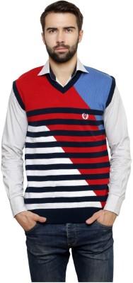 Leebonee Striped V-neck Casual Men's Blue Sweater