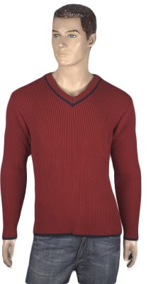 Nolex Solid V-neck Casual Men's Maroon Sweater