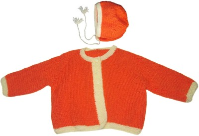 Ubique Self Design Round Neck Casual, Party, Festive Baby Boy,s, Baby Girl's Orange Sweater