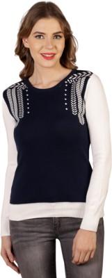 Aussehen Printed Round Neck Casual Women's Blue, White Sweater