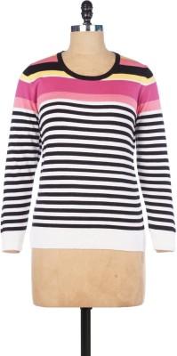 Pazaro Striped Round Neck Casual Women's White Sweater