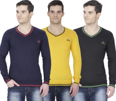 Alay Solid V-neck Casual, Party, Formal, Festive, Lounge Wear, Sports Men's Yellow, Black, Dark Blue Sweater