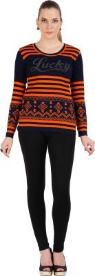 Skidlers Geometric Print Round Neck Casual, Festive, Party Women's Orange, Dark Blue Sweater