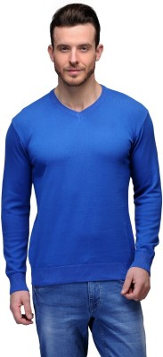 Tailor Craft Solid V-neck Casual Men's Blue Sweater