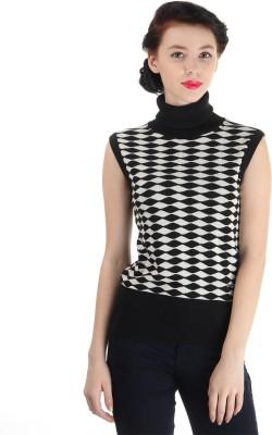 Pepe Jeans Chevron Turtle Neck Casual Women,s Black Sweater