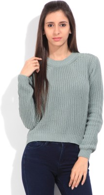 Lee Self Design Round Neck Casual Women's Light Blue Sweater