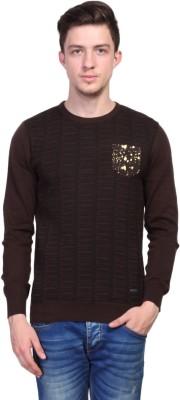 TSAVO Printed Round Neck Casual Men's Brown Sweater