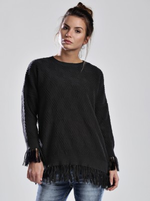HRX by Hrithik Roshan Self Design Round Neck Casual Women,s Black Sweater