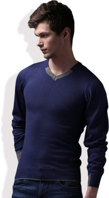 WROGN Solid V-neck Casual Men Blue Sweater