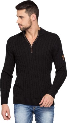 Spykar Solid Round Neck Casual Mens Black Sweater