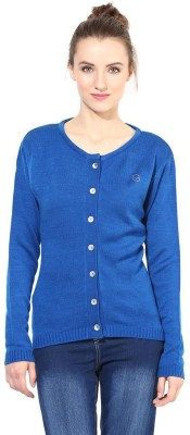 The Vanca Solid Round Neck Casual Women's Blue Sweater