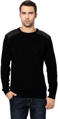 Van Heusen Self Design Round Neck Men's Black Sweater
