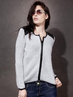 Roadster Self Design Round Neck Women's Grey Sweater