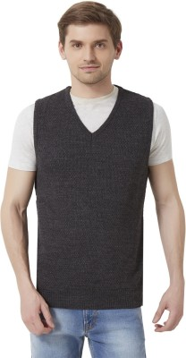 Peter England Woven V-neck Casual Men's Grey Sweater