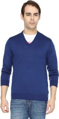Wrangler Solid V-neck Casual Men's Blue Sweater