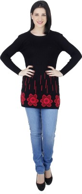 Camey Printed Round Neck Casual Women's Black Sweater