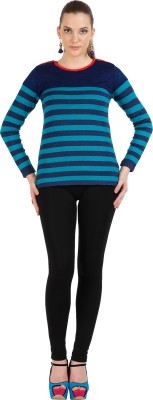 Skidlers Striped Round Neck Casual, Festive, Party Women's Blue, Dark Blue Sweater