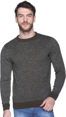 CLUB YORK Solid Round Neck Casual Men's Grey Sweater